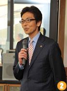 齊藤 栄 熱海市長。東京から新幹線で約48分の近さと、自然と食の豊かさなど、積極的に熱海の魅力をアピールした