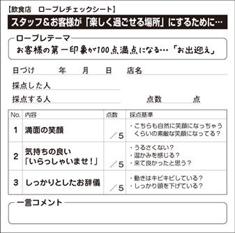 【飲食店 ロープレチェックシート】