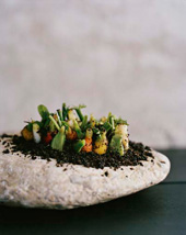 """土の中で""""成長する""""ニンジンとハツカダイコンの前菜。炭化させたへーゼルナッツを土に見立てている"""