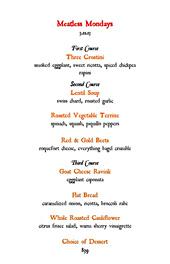 「アーモンド」のコースメニュー。第2、第3の皿は3種の料理から選べるようになっている