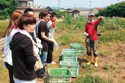 同社では定期的に農家など生産者のもとを訪れ、食材に対する愛情を来店客に伝えている。写真は淡路島の農家を訪ねたときのもの