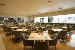 オープンキッチンのホールは広々とした112席。テラスから差し込む光も心地いい空間を演出