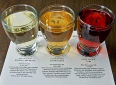 最近のハードサイダーは色とりどりで目にも楽しい。各地の「クラフトハードサイダー・バー」では、少量を飲み比べできる試飲セットも用意し、初心者でも気軽に試せるように工夫している