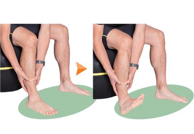 前脛骨筋は、つま先を引き上げる筋肉。指で押しながらほぐしましょう。