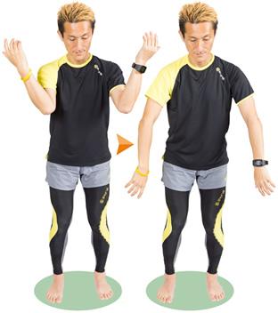 肘から先の前腕を上げ、前腕のコリをほぐすように振り下ろします。