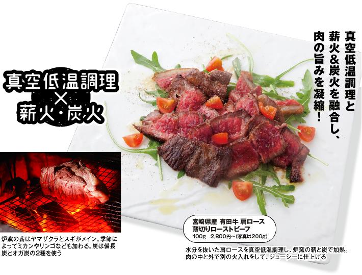 真空低温調理と薪火&炭火を融合し、肉の旨みを凝縮!
