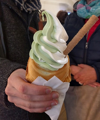 ユニークな見た目の「たい焼きアイスクリーム」(写真は「抹茶&バニラ」)。SNSに写真を投稿することを目的に初めて来店した人が、モチモチした生地とソフトクリームの組み合わせに魅了されてリピーターになるケースも多い