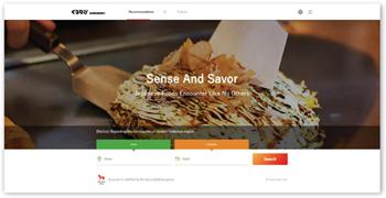 「ぐるなび外国語版」のトップページ。シズル感のある料理写真を大きく掲載するとともに、検索の軸を「エリア×業態」に集約し、外国人にとってわかりやすく、使いやすいサイトを構築した